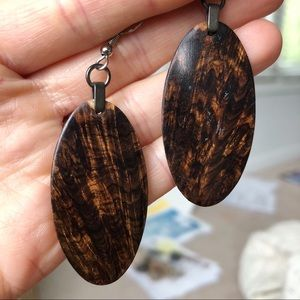 Forest Life Creations Wood Drop Paddle Earrings
